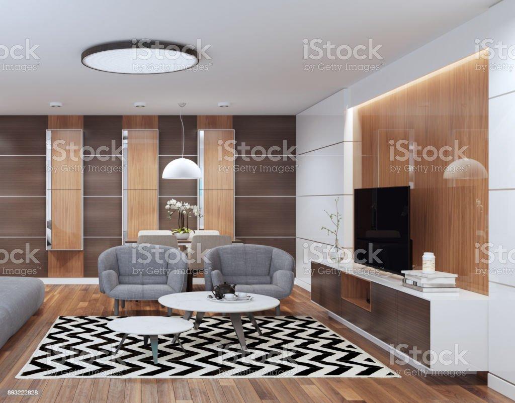 Interior De La Sala De Estar De Lujo Con Muebles Modernos - Arte ...