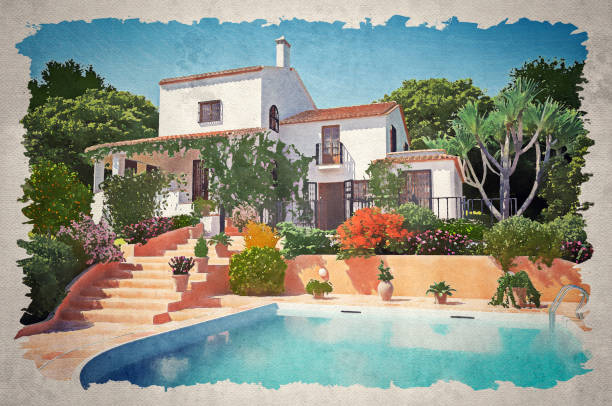 Luxury Mediterranean Style Villa (Watercolor) Watercolor painting that illustrate a luxury Mediterranean style holiday villa on a perfect cloudless summer day. villa stock illustrations