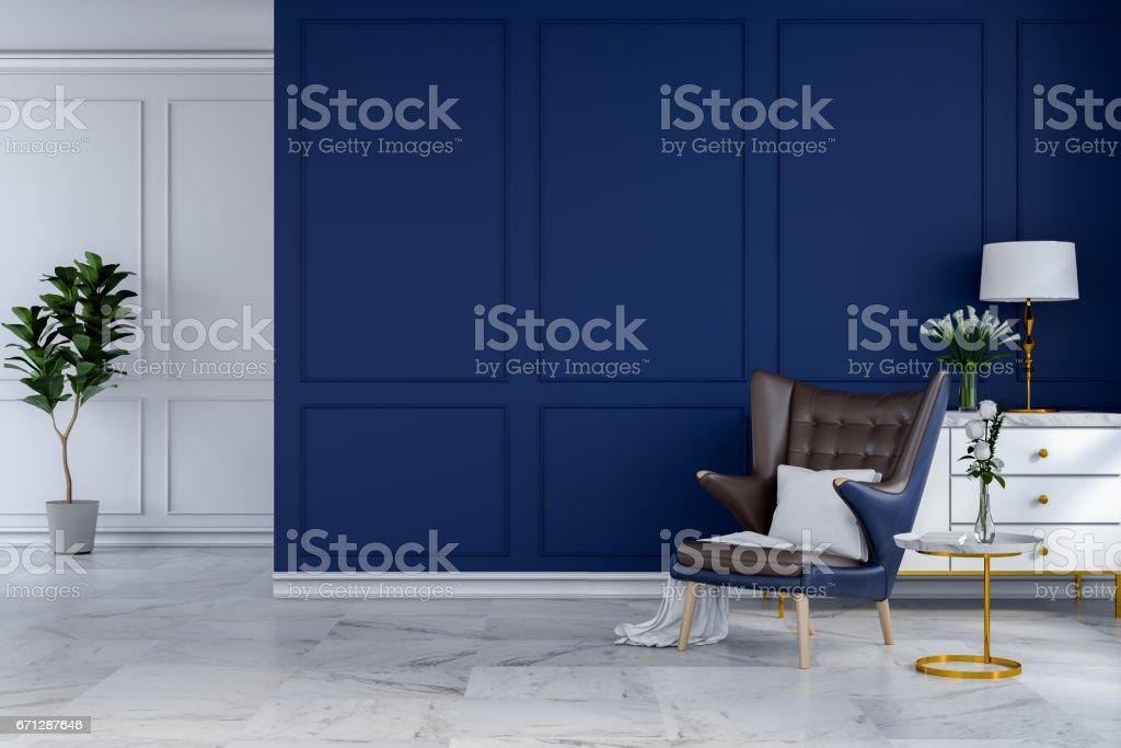 Moderne Lampen 67 : Luxuriöse moderne zimmer interieur blue lounge stuhl mit weißen