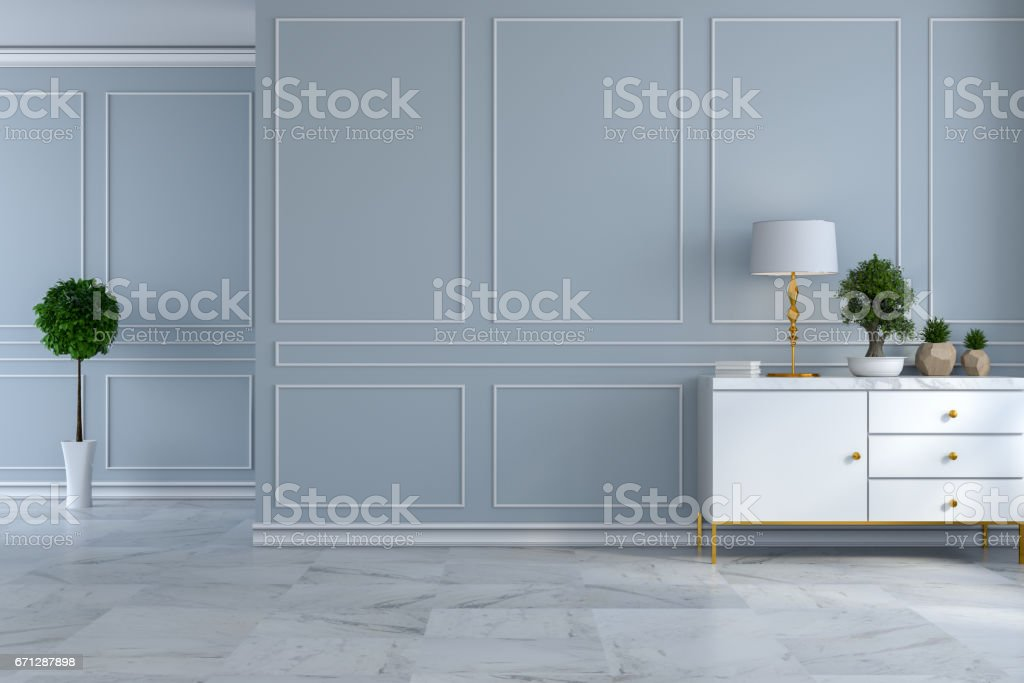 Luxus Modernen Interieur Leeren Raum Weisse Sideboard Mit Lampe Und