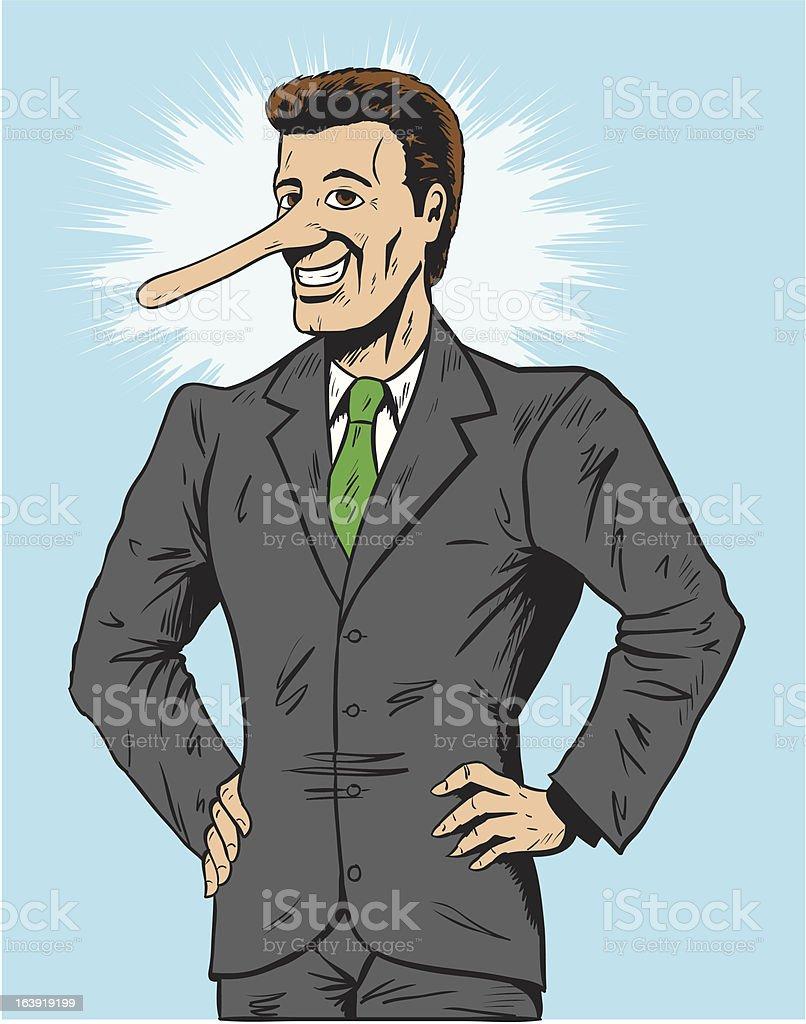 Lying salesman or businessman vector art illustration