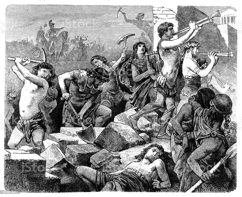Lysander (†395 BC) destroyed Athens vector art illustration