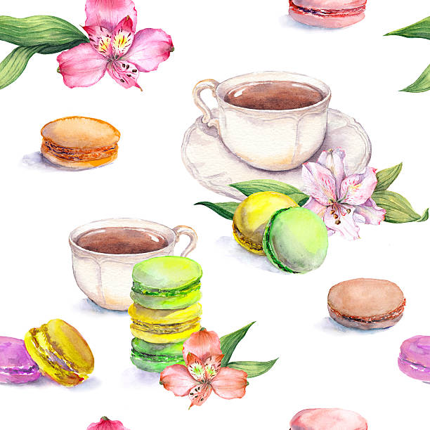 macaroons cakes, tea cup and flowers. teaparty pattern. seamless watercolor - stacked tea cups stock illustrations, clip art, cartoons, & icons