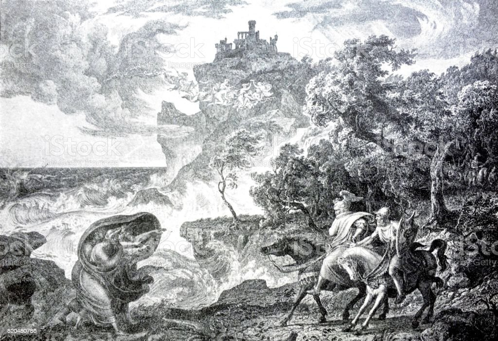 Macbeth And The Witches On Horses In Nature Stormy Weather Stock