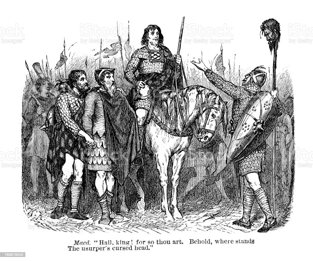 Macbeth - The usurper's cursed head vector art illustration