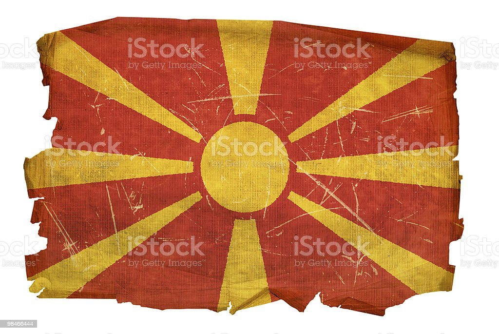 Macedonia Flag old, isolated on white background. royalty-free macedonia flag old isolated on white background stock vector art & more images of aging process