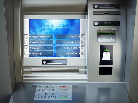 Atm機自動支払い銀行の現金自動預け払い機 - イラストレーションの ...