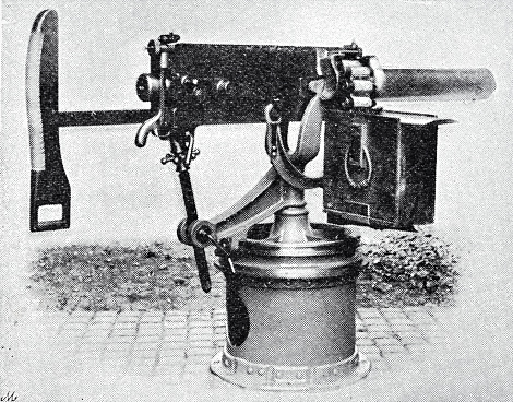 Sir Hiram Stevens Maxim (1840 – 1916) was an American-British inventor best known as the creator of the first automatic machine gun, the Maxim gun. Maxim held patents on numerous mechanical devices such as hair-curling irons, a mousetrap, and steam pumps. Maxim laid claim to inventing the lightbulb. Illustration from 19th century. Illustration from 19th century.