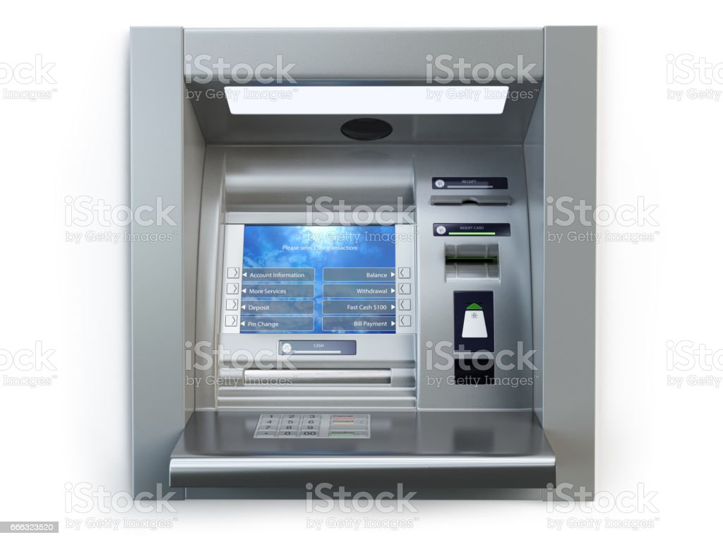 ATM machine isolated on white. Automated teller bank cash machine. ベクターアートイラスト