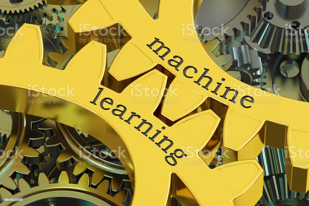 machine learning concept on the gearwheels, 3D rendering vector art illustration