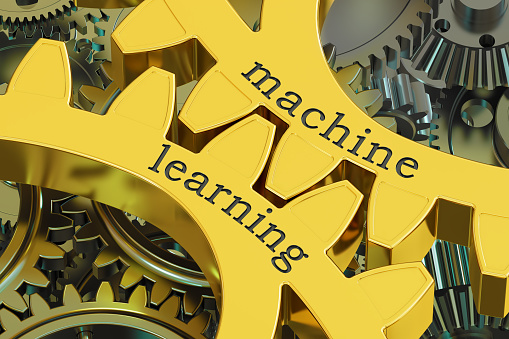 Machine Learning Concept On The Gearwheels 3d Rendering Stock Illustration - Download Image Now