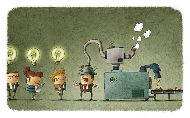 bildbanksillustrationer, clip art samt tecknat material och ikoner med machine stealing idea from man's head - changing bulb led