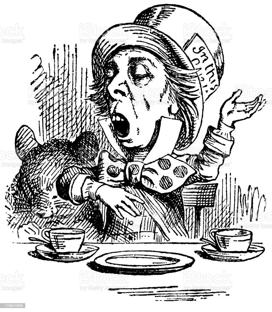 Mad Hatter having tea illustration, (Alice's Adventures in Wonderland) royalty-free stock vector art