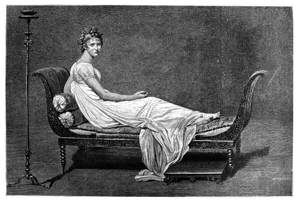 Madame Récamier, by Jacques-Louis David Illustration of a Madame Récamier, by Jacques-Louis David chaise longue stock illustrations