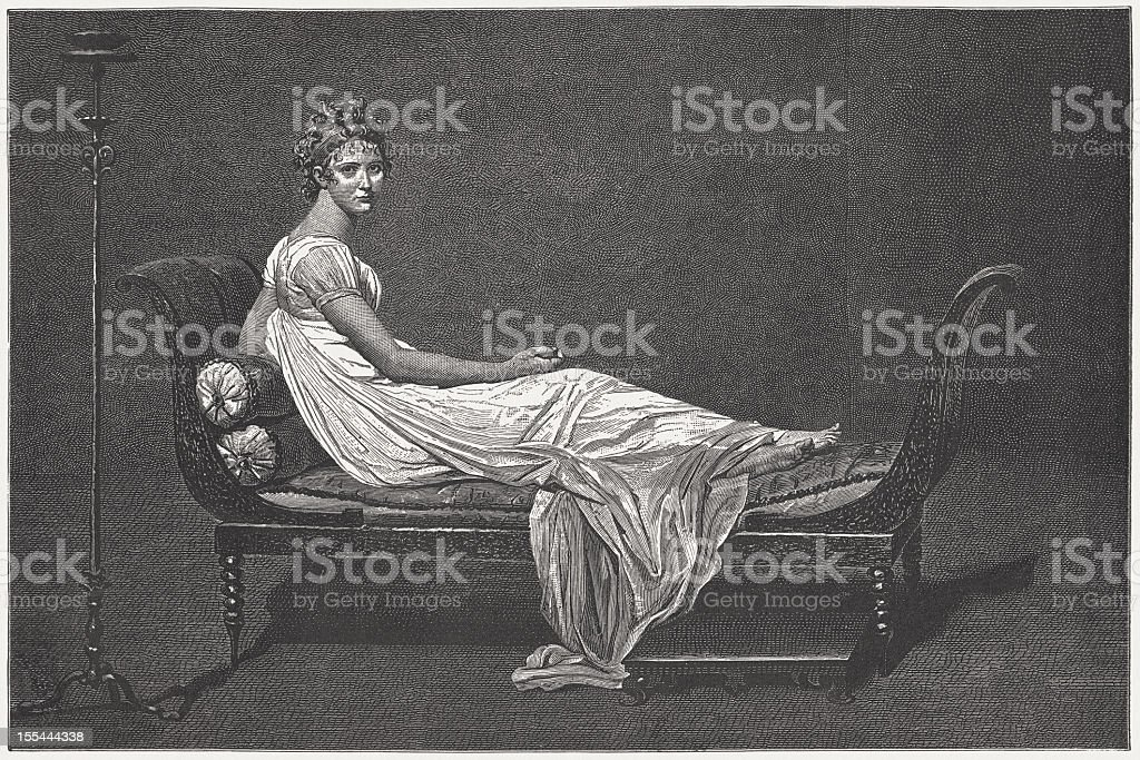 Madame Récamier, by Jacques-Louis David, wood engraving, published in 1882 royalty-free madame récamier by jacqueslouis david wood engraving published in 1882 stock vector art & more images of adult
