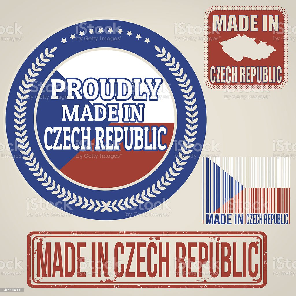 Made in Czech Republic stamps and labels vector art illustration