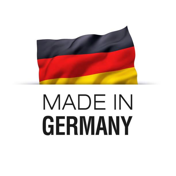 ilustraciones, imágenes clip art, dibujos animados e iconos de stock de hecho en alemania - etiqueta - bandera alemana