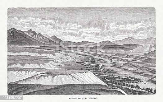 River terraces in the Madison River valley in Montana, USA. Wood engraving, published in 1897.