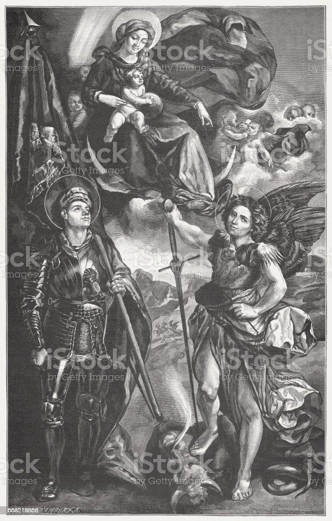 Madonna y niño con Santos, pintado por Dosso Dossi, Módena - ilustración de arte vectorial