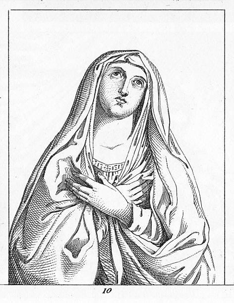 illustrazioni stock, clip art, cartoni animati e icone di tendenza di madonna in guido reni - ferragosto