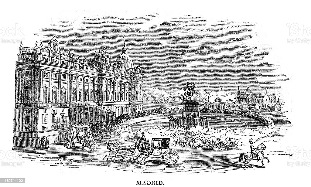 Madrid 19th century royalty-free stock vector art