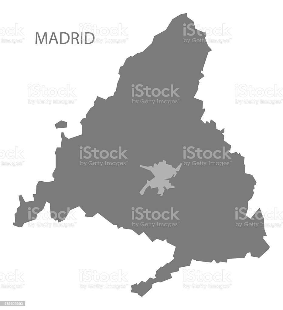 Madrid Spain Map Grey Stock Vector Art & More Images of Computer ...