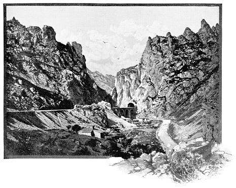 Madrid–Hendaye Railway in the Spanish Pyrenees Mountains, Spain - 19th Century