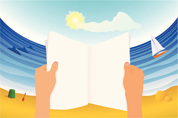 stockillustraties, clipart, cartoons en iconen met magazine reader on the beach - newspaper beach