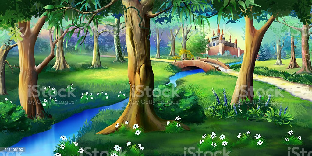 Magic Forest Around the Fairytale Castle vector art illustration