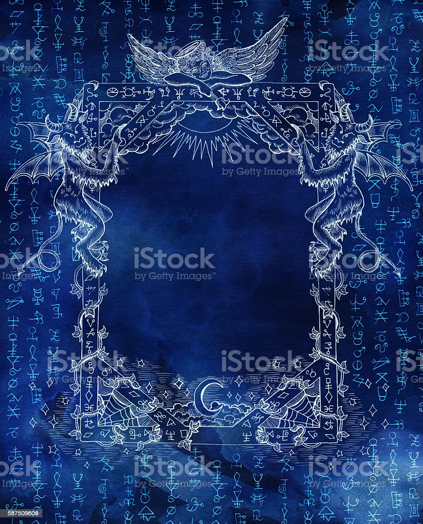 Magic Frame With Angel Demons And Shining Symbols On Blue Stock ...