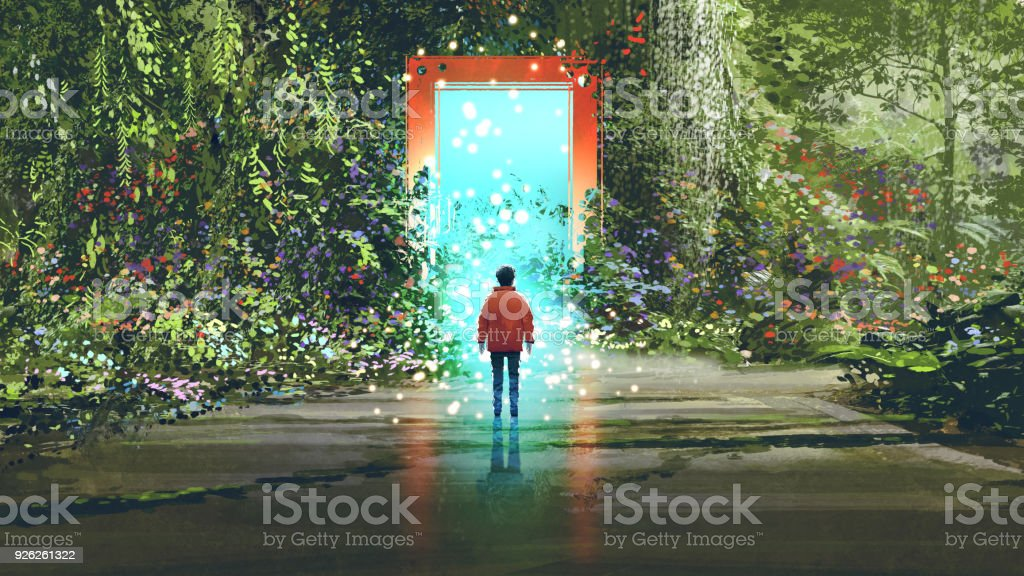 magic gate into another place vector art illustration