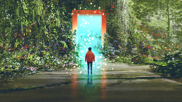 magic gate into another place fantasy scenery showing the boy standing in front of the magic gate with glowing blue light in beautiful forest, digital art style, illustration painting dreamlike stock illustrations