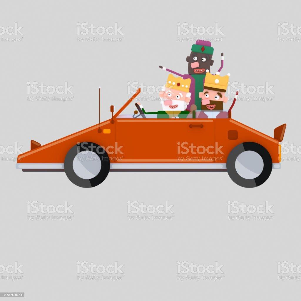 Reyes mágico conducir un coche rojo - ilustración de arte vectorial