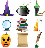 Halloween set of witchcraft tools. Nine magic icons on white background.