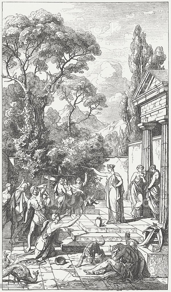 Magic of Circe, Greek mythology, wood engraving, published in 1871 royalty-free magic of circe greek mythology wood engraving published in 1871 stock vector art & more images of adventure