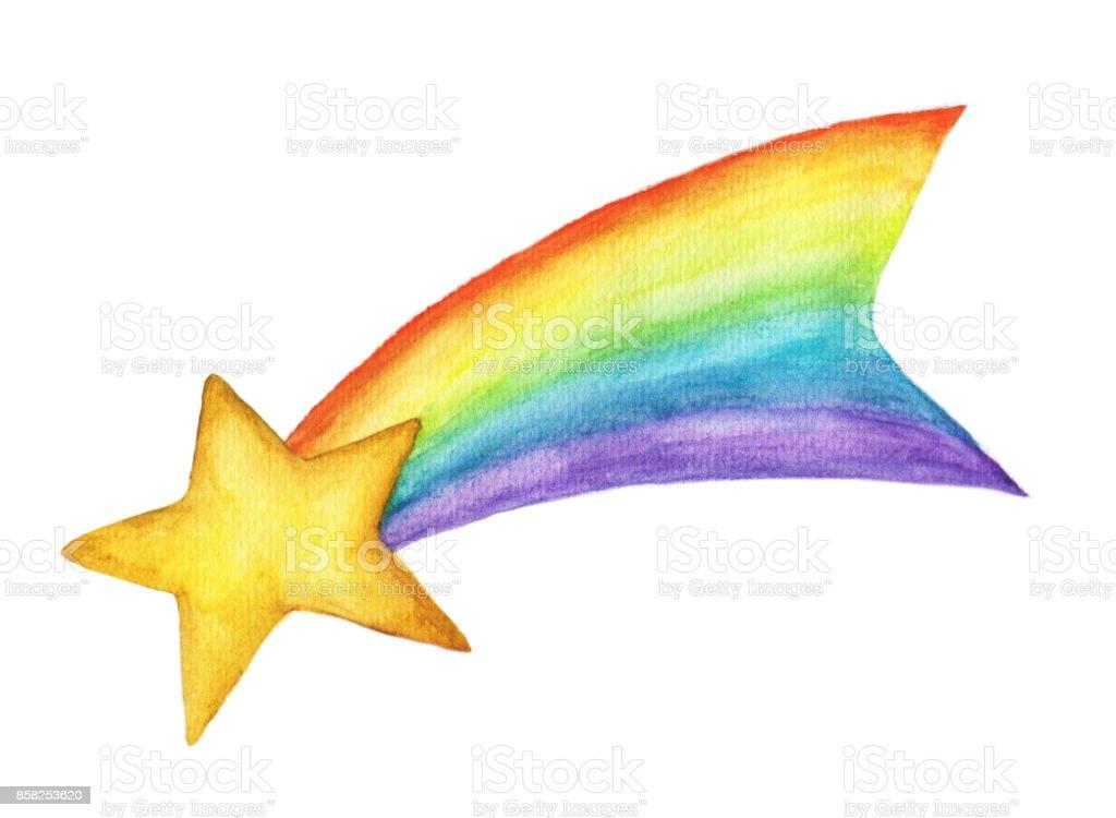 Sihirli Yildiz Meteor Gokkusagi Kuyruklu Yildizlar Sulu Boya Resim