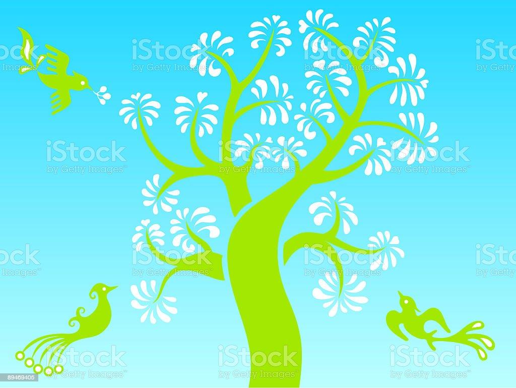 Magic Tree & Birdie Sky royalty-free magic tree birdie sky stock vector art & more images of art deco