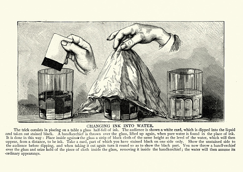 Vintage illustration Magic trick, changing ink into water, Victorian 19th Century