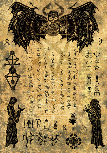 Magic witch book page with evil symbols and drawings on old paper texture