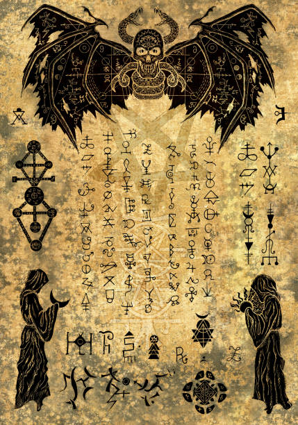 Magic witch book page with evil symbols and drawings on old paper texture vector art illustration