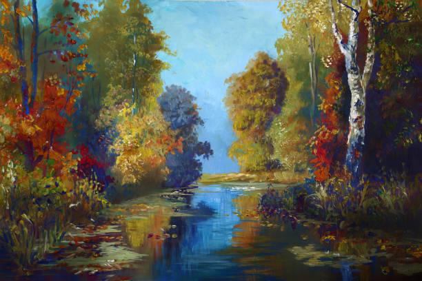 magical autumn landscape in oil painting vector art illustration