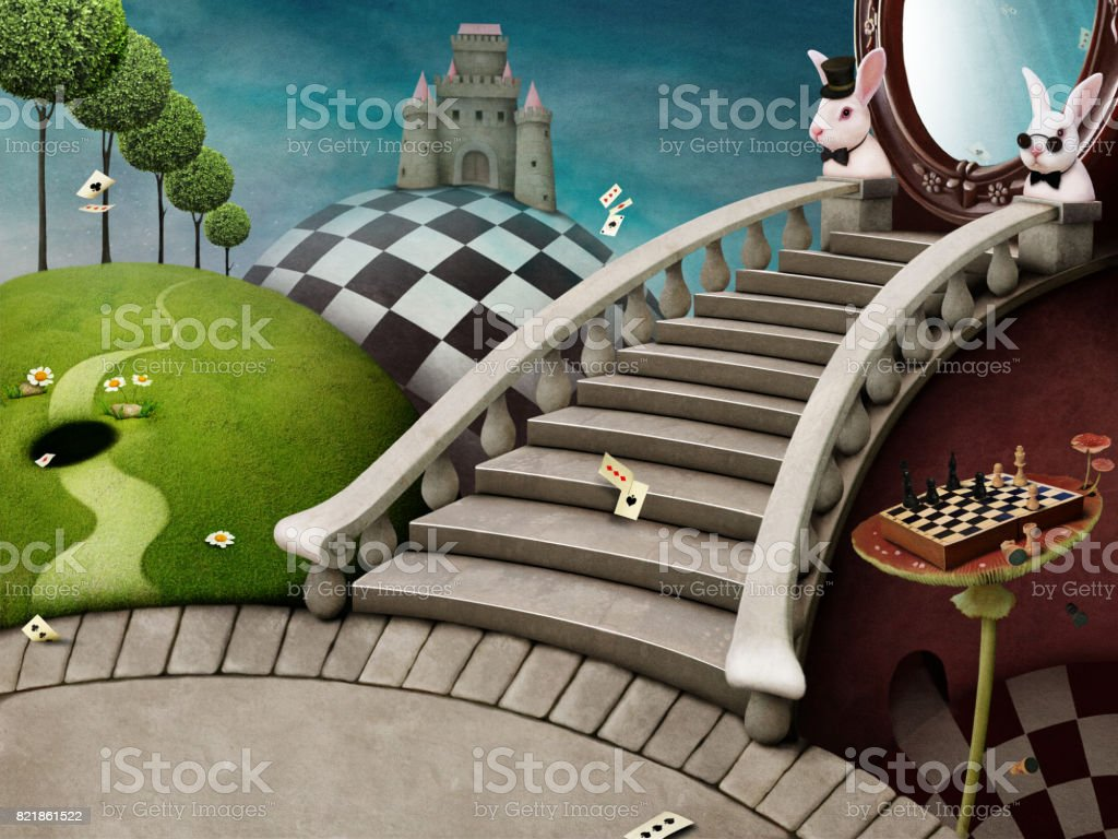 Magical background Wonderland vector art illustration