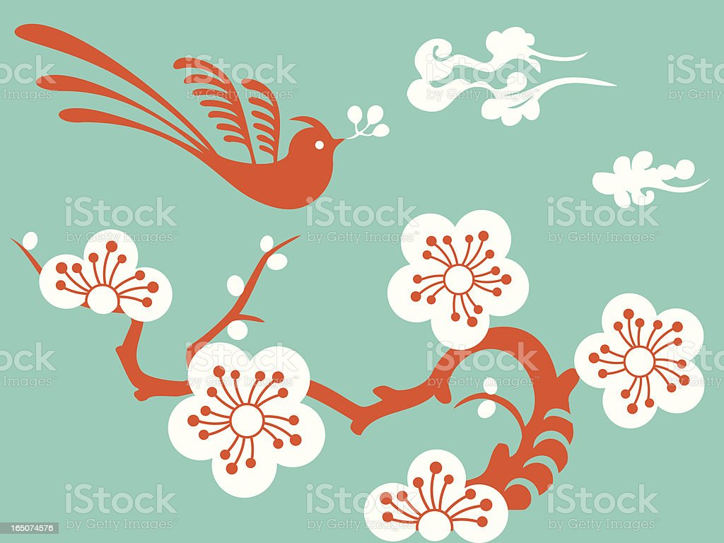 Magical Bird & Plum Blossom royalty-free stock vector art