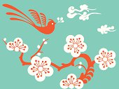 Vector Illustration of a flying bird with cherry Blossom.