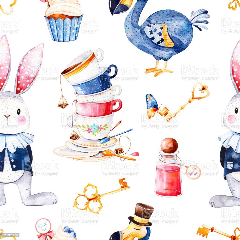 Magical pattern with bottle,Dodo bird,golden keys,cute rabbit in blue jacket,cupcake vector art illustration