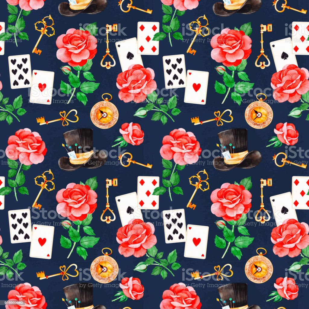 Magical pattern with lovely roses,playing cards, hat, old clock and golden keys vector art illustration