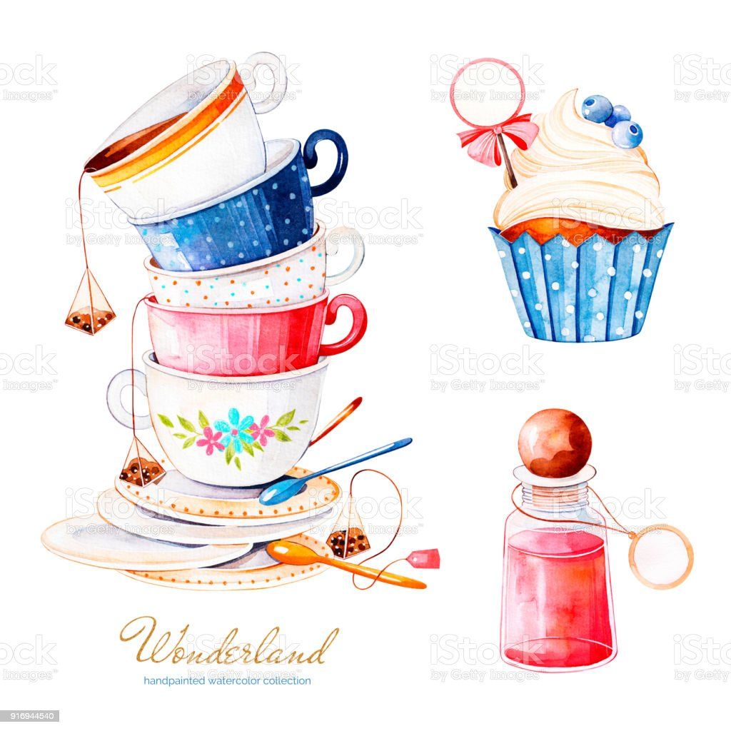 Magical watercolor set with cupcake and bottle with label for your text, multicolor cups tea vector art illustration
