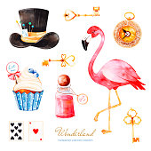 Magical watercolor set with cupcake and bottle with label with text, playing cards,flamingo and hat