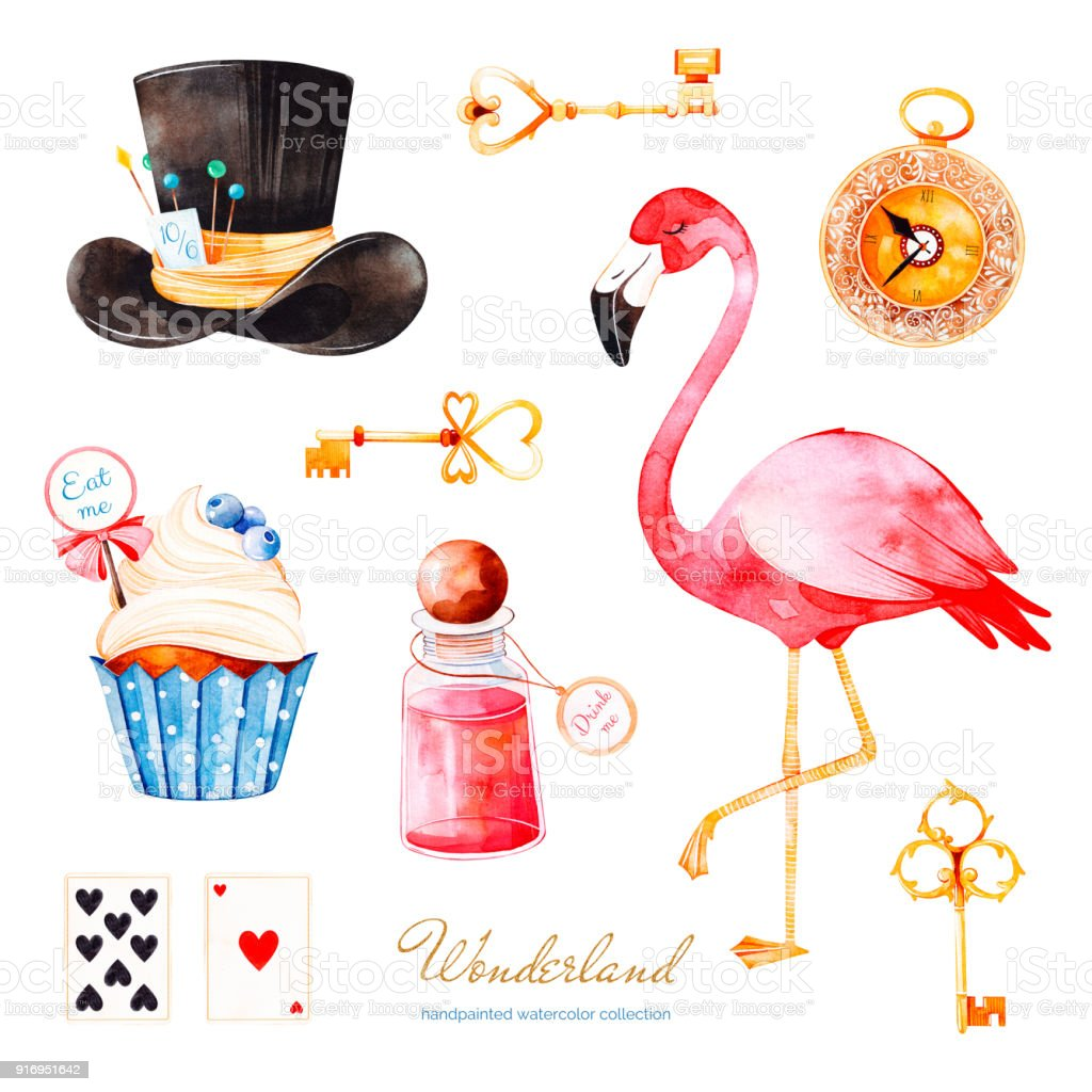 Magical watercolor set with cupcake and bottle with label with text, playing cards,flamingo and hat - illustrazione arte vettoriale
