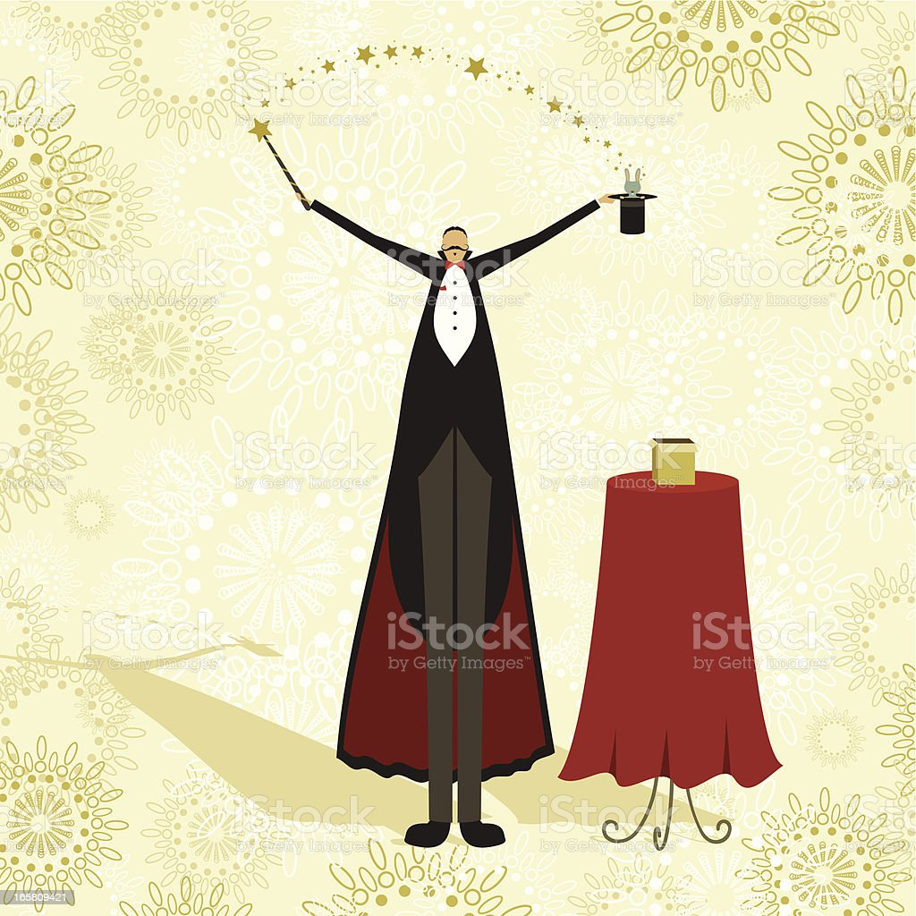 Magician and rabbit circus show vector art illustration